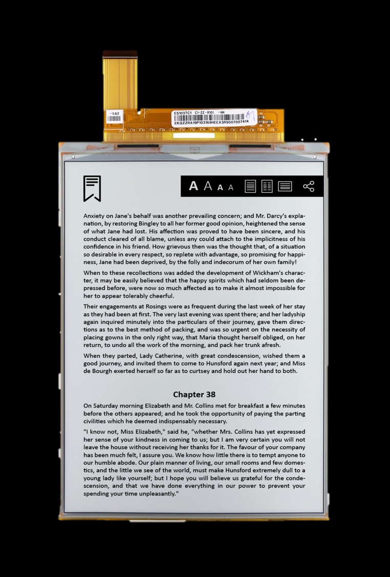 VB3300-KCA/ES103TC1-10.3寸-1404 x 1872-226ppi-柔性屏墨水屏规格