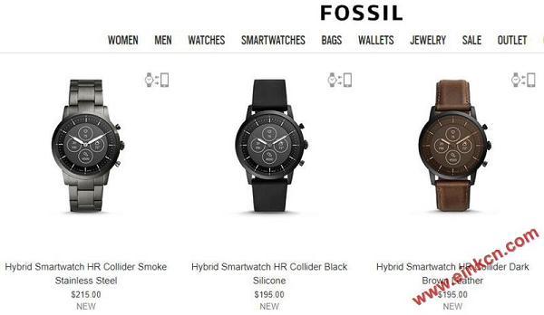 Fossil Collider Hybrid Smartwatch HR混合智能表以 Wear OS 和 E Ink 为卖点 手表穿戴