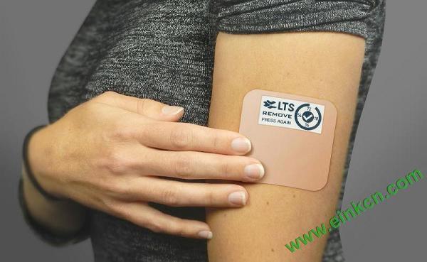 einkpatch.jpg 自带E Ink电子墨水屏显示的医疗经皮贴片可提醒你换药 墨水屏智慧医疗
