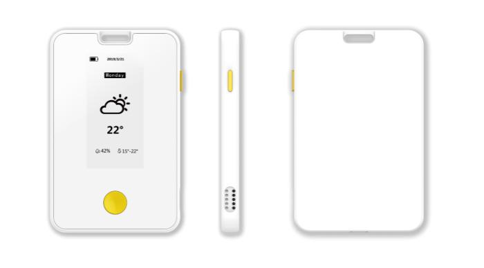UWB室内定位硬件设备:墨水屏定位终端 可接受讯息,追踪轨迹,天气显示